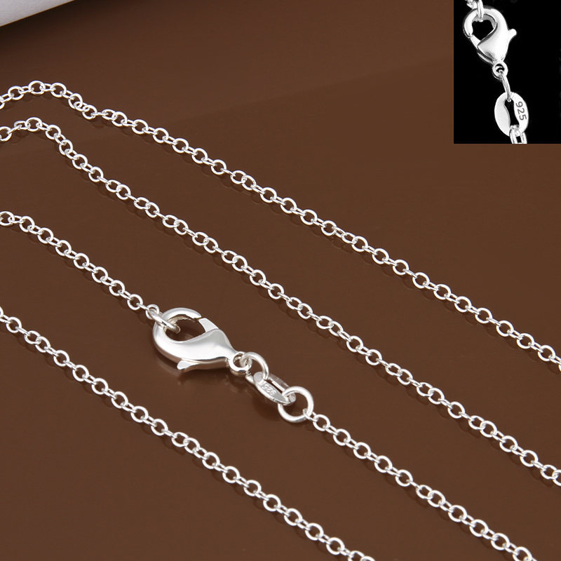 Men Women Jewerly 1mm 16 18 20 22 24 Inches Links Chain Necklace 925 stamped silver plated Necklace Classic Pop Rolo Chains
