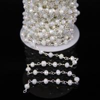 4x6mm Titanium AB Crystal Glass Faceted Rondelle Rosary Chain Silver Tone Wire Wrapped Chain Charms Bracelet