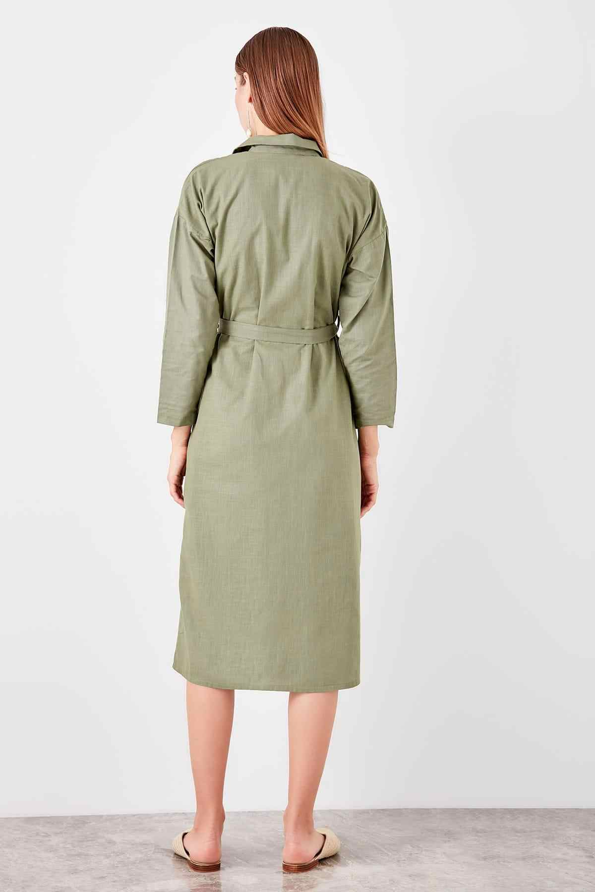 Trendyol рубашка хаки платье TWOSS19EL0456