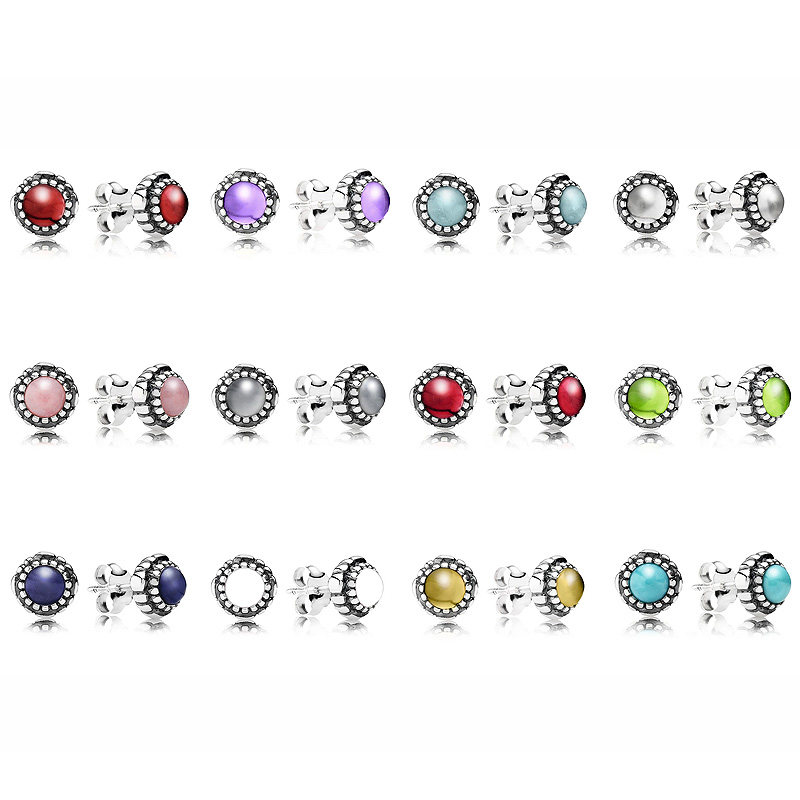 cc60df2cc Authentic 925 Sterling Silver Earring Month Birthstone Birthday Studs  Earrings For Women Wedding Party Gift Fine