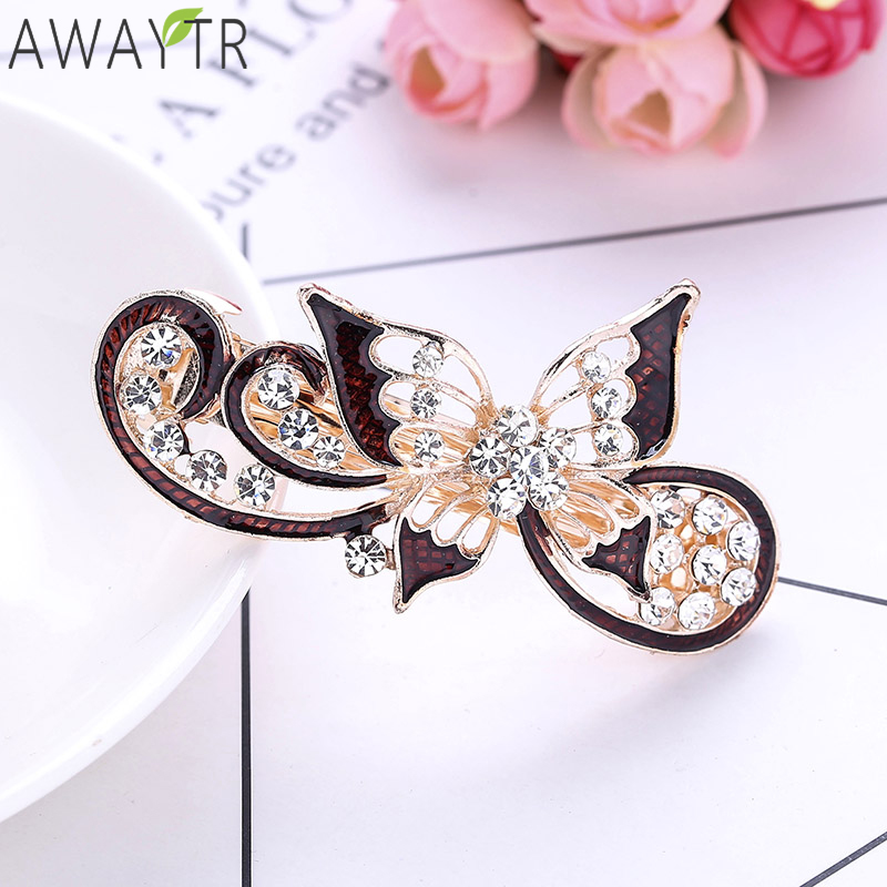 2019 Trendy Women   Headwear   Hair Clip Hollow Crystal Rhinestone Spring Hairpins Clip Hairgrip 1pcs Retail Diamond Hairpin Crown