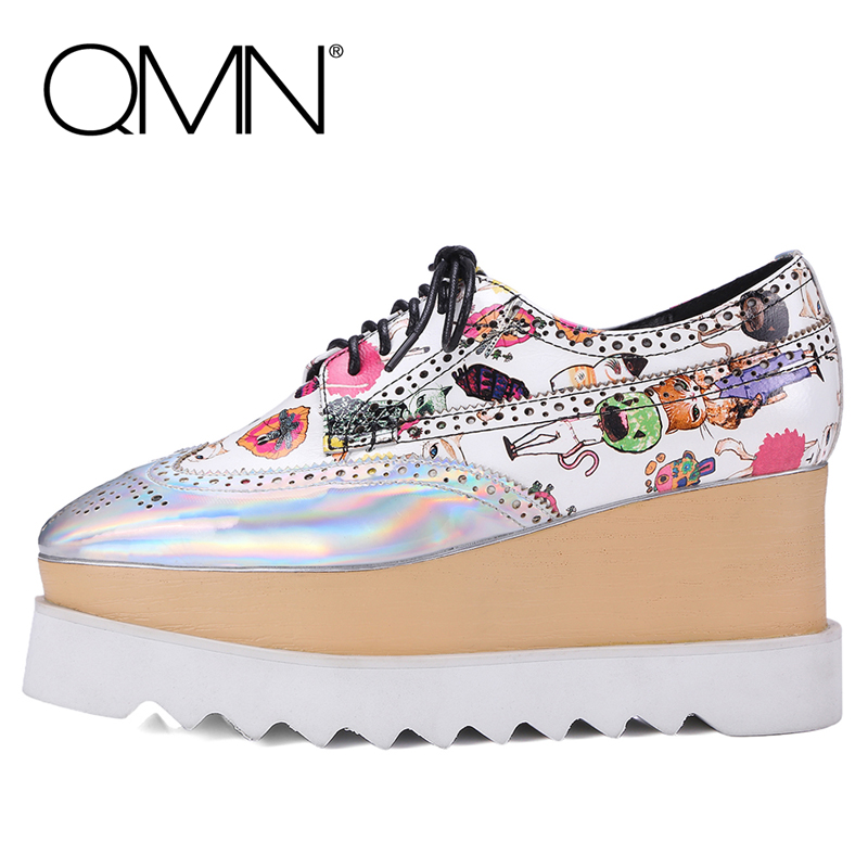 QMN women genuine leather platform flats Woman Metallic Paneled Leather Brogue Shoes Woman Platform Oxfords Creepers qmn women genuine leather platform flats women laser cut square toe brogue shoes woman oxfords women leather creepers 34 42