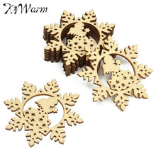 10Pcs/Set Christmas Snow Flower Angel Pattern Wooden Embellishment Wood Crafts Card Making Hanging Ornament Wedding Home Decor