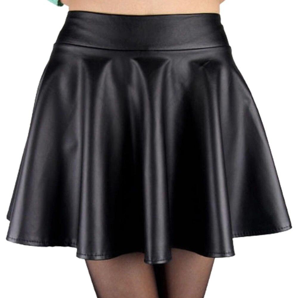 5b18495a4 High Waisted Black Leather Mini Skirt - raveitsafe