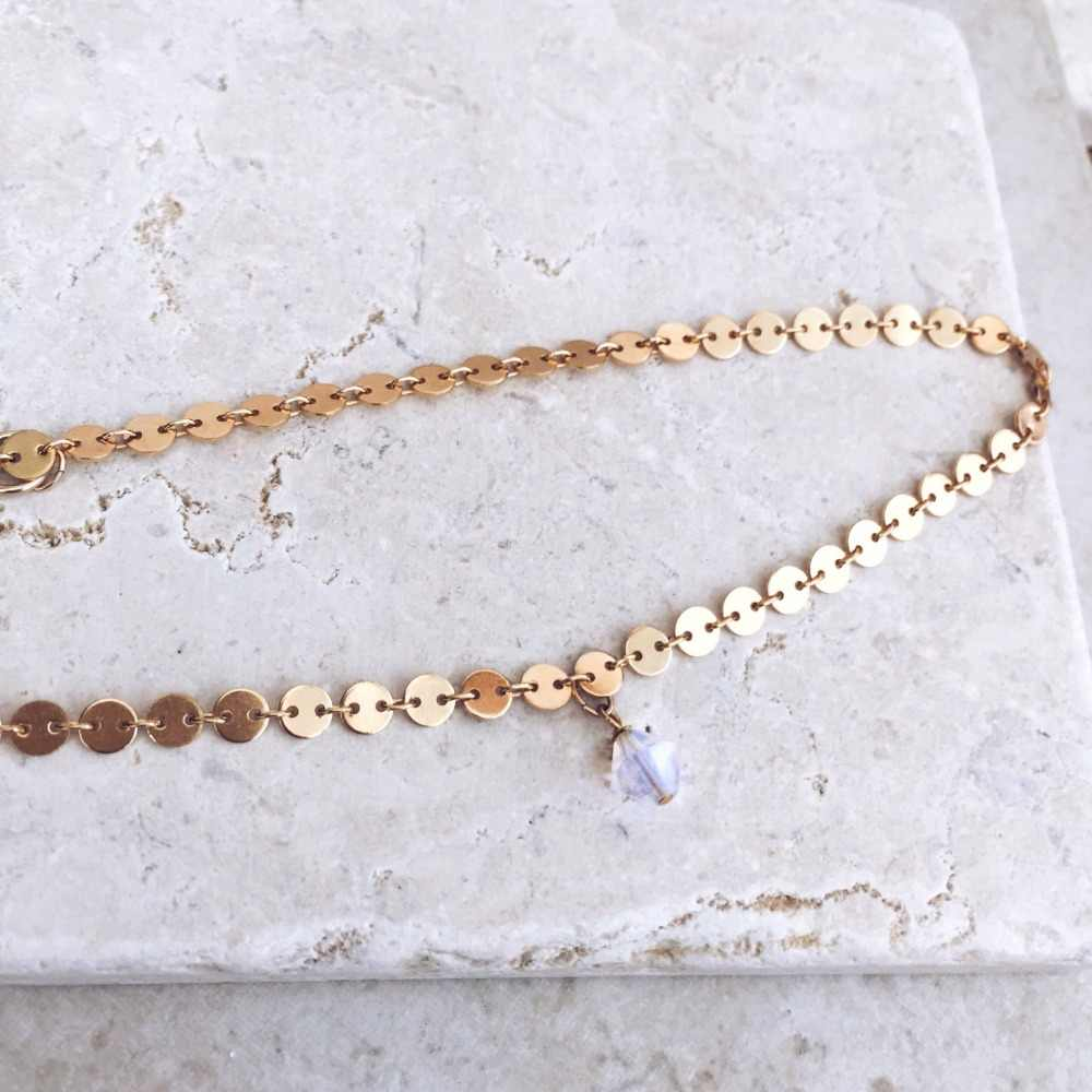 Neue Mode Choker halskette, Opal Kristall halskette, Delicate Schichtung Halskette