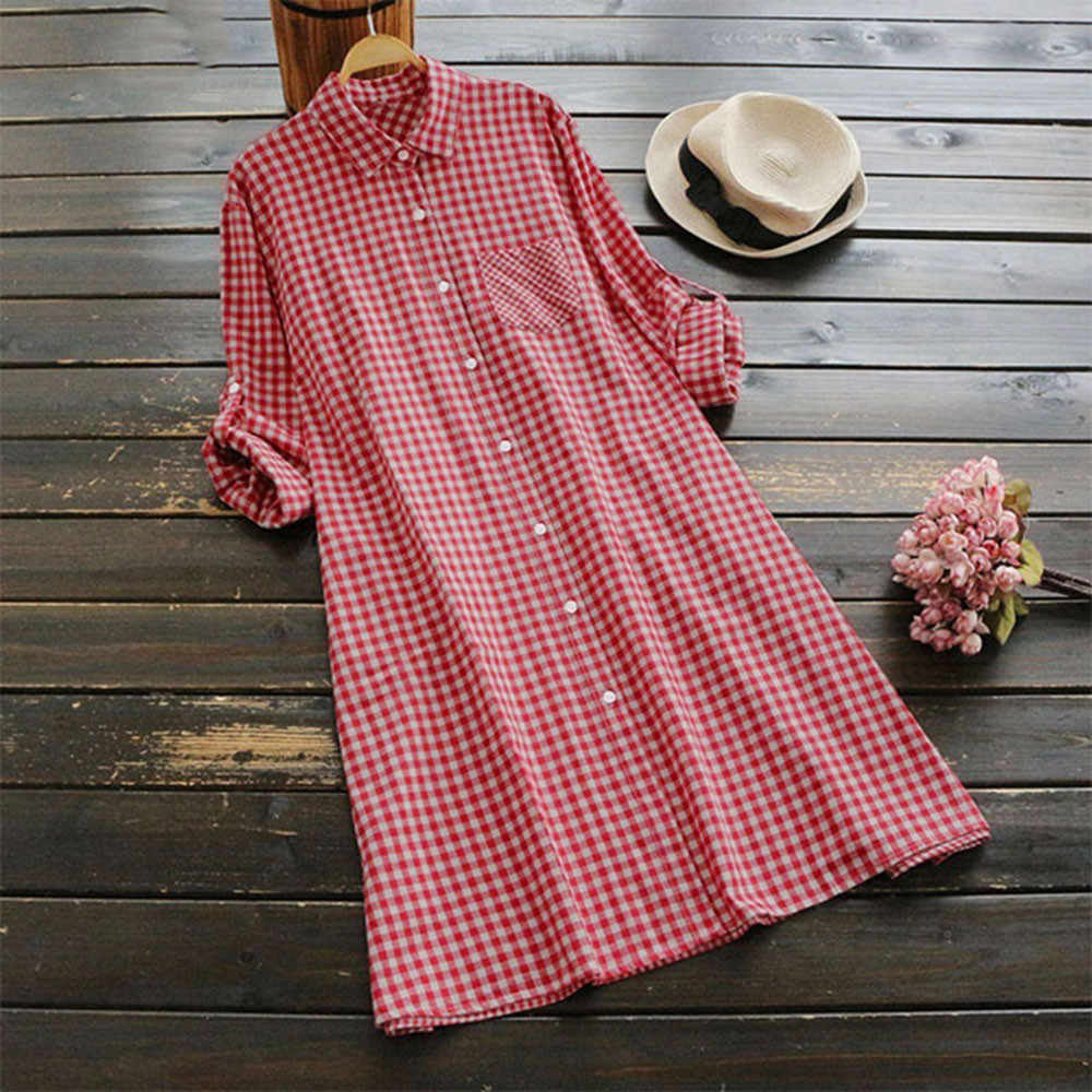 GRATIS STRUISVOGEL Casual vrouwen Plus Size Herfst Plaid Tuniek Button Down Lange Mouwen Gown Stand Pocket Shirt Jurk