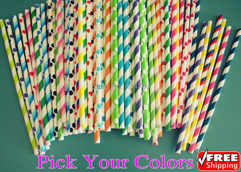 1000pcs Pick Your Colors Striped Polka Dot Chevron Star Heart Checkered Diamond Daisy Plain Patterned Party Paper Straws Bulk-in Disposable Party Tableware from Home & Garden    1
