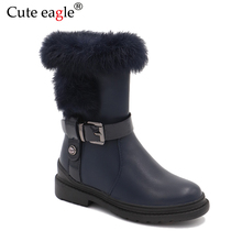 Baby Girls Winter Boots Made Of Natural Leather Childrens Shoes Warm Plush Rubber Snow for EU Size 27-32