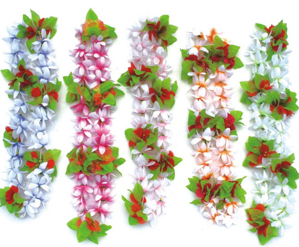 30 pcs hawaiian flower leis garland necklace fancy dress party bosheng hawaiian colorful luau flower leis necklaces for tropical island beach theme party event set of izmirmasajfo Image collections