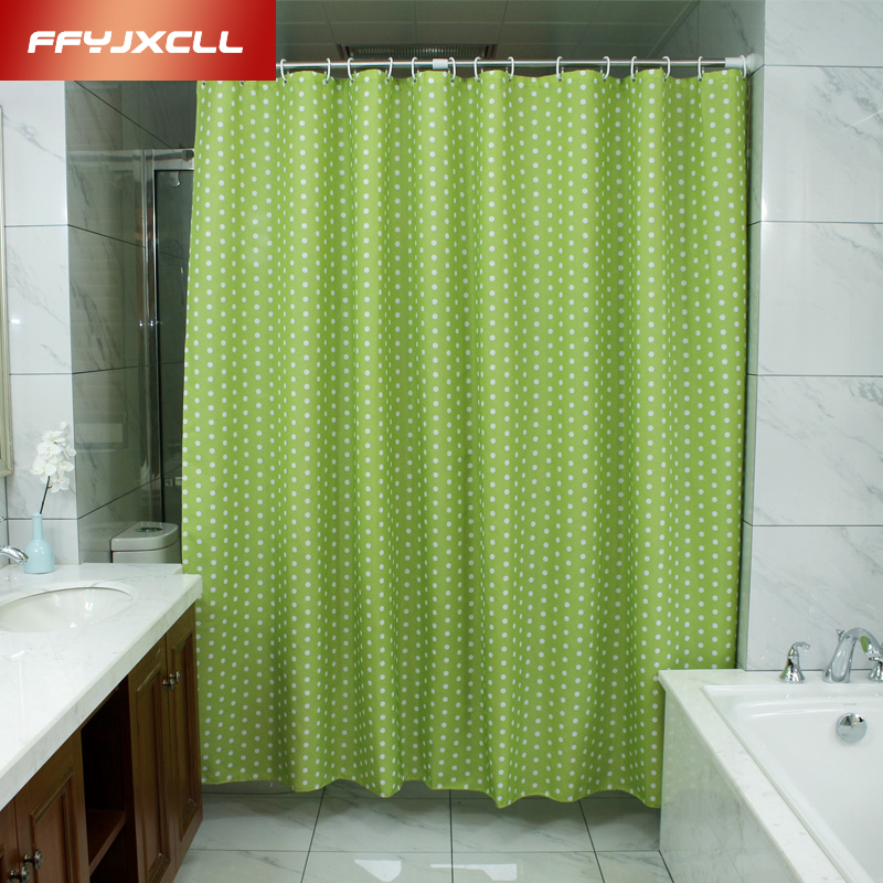 Pastoral Green Dots Shower Curtain 180 x 200cm Bath Curtain Bathroom Curtains Cortina Bathroom Products Beautiful Cover-in Shower Curtains from Home & ...
