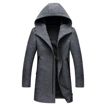 2019 Autumn New Long Hooded Mens Coats Overcoats High Quality Black Grey Colors Mens Wool Jacket