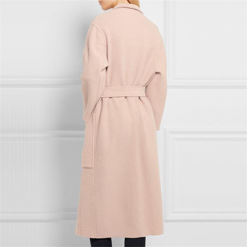 Light 2019 Manteau Femme D'hiver Hiver Cachemire Marque De Ceinture Tempérament Femmes Pardessus Laine Long Mode Vestes Avec Pink w1q1aFX