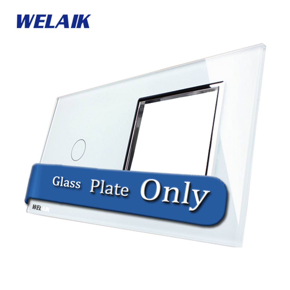 WELAIK  Touch Switch DIY Parts  Glass Panel Only of Wall Light Switch Black White Crystal Glass Panel Square hole  A2918W/B1 only a promise