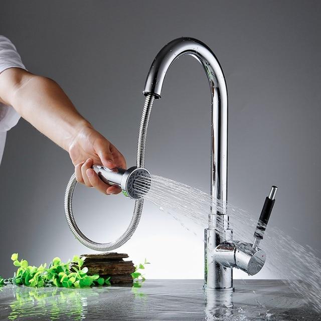 US $63.96 51% di SCONTO|Chrome Pull Out Rubinetti Della Cucina In Ottone  Miscelatore Da Cucina Miscelatore Lavello Rubinetto Estraibile Spruzzatore  ...