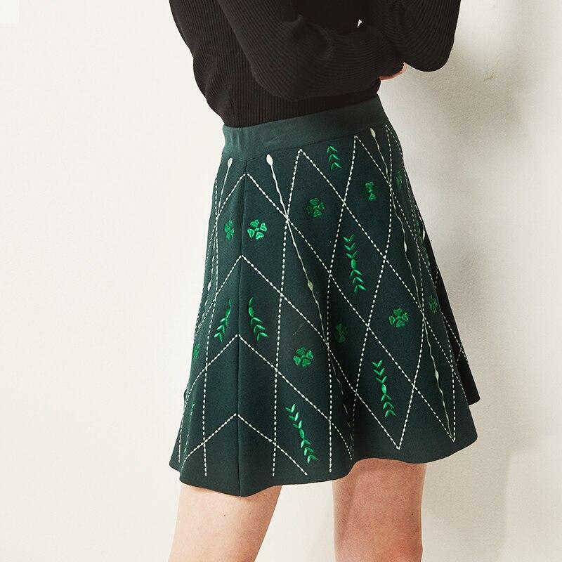 Haute Femmes Haut De Luxe Tricoté Broderie Taille Kenvy Jupe Vintage Mode Gamme Marque 7wCtqtR