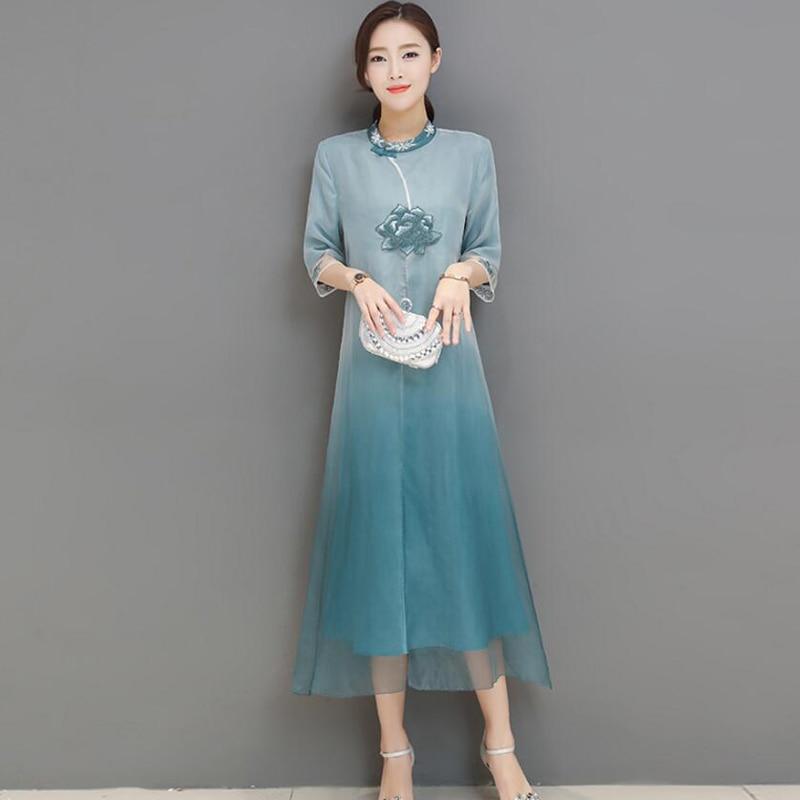 Élégante femme robe en soie naturelle Style chinois trois quarts manches femme broderie florale une ligne femme été femmes robe XXL