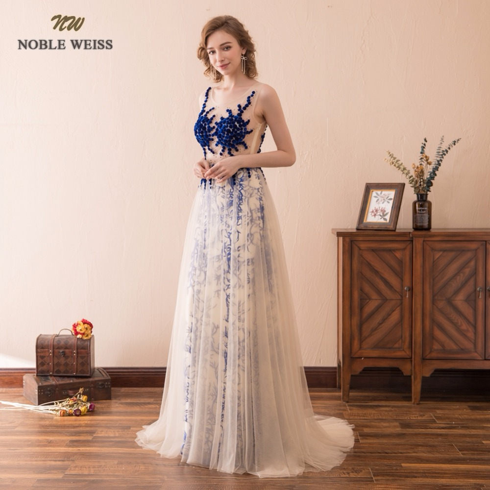 NOBLE WEISS Sexy A-Line Evening Dresses See Through Lace Prom Gown Robe de Soiree 2019 Formal Special Occasion Gowns