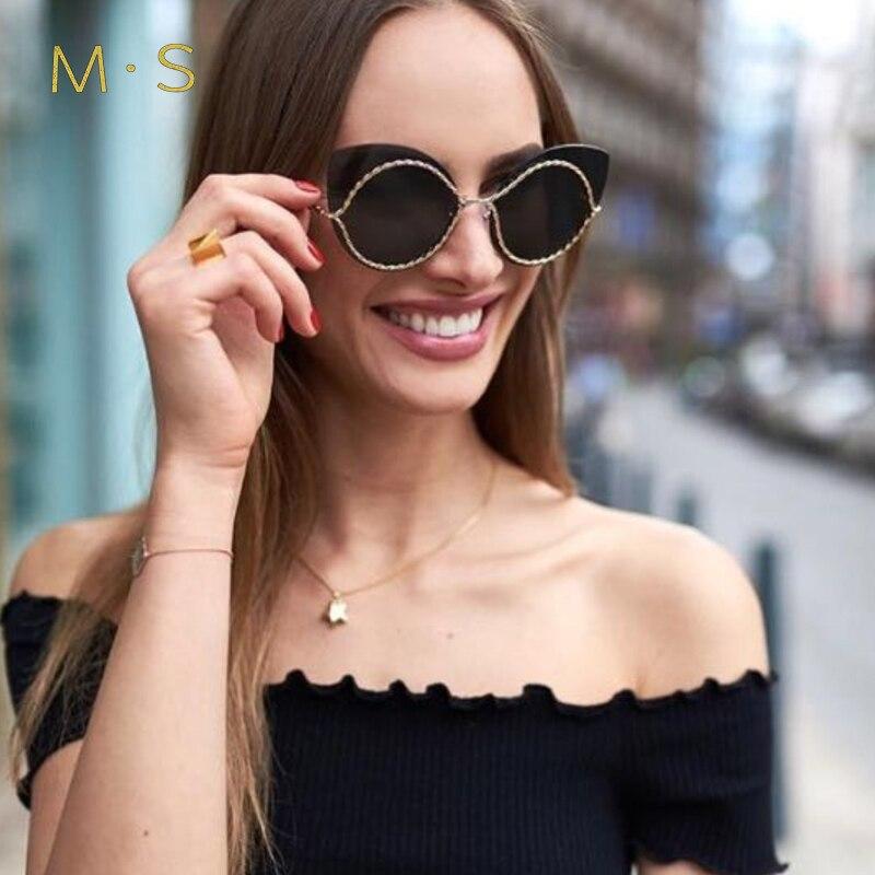 MS 2017 Fashion Sunglasses men Luxury Brand Designer Vintage Sun glasses Female Cat eye Glasses For Women Girl Eyewear J49