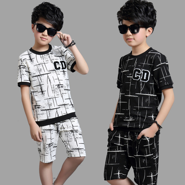 c1ab66103 Kids Boys Summer 2017 New Chinese Letter CD Children's Sports Sets Short  Sleeve Shirt+pants 4 14 Ages 2 Colors Free Shipping-in Clothing Sets from  Mother ...