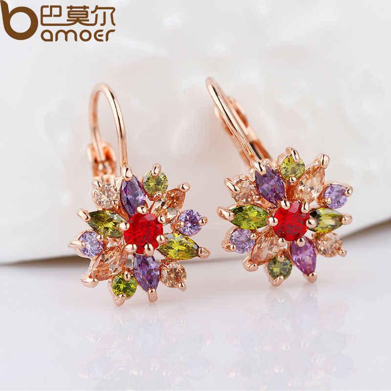 BAMOER różowe złoto kolor zestawy biżuterii dla kobiet z wysokiej jakości Multicolor AAA cyrkon ślub i biżuteria zaręczynowa ZH017