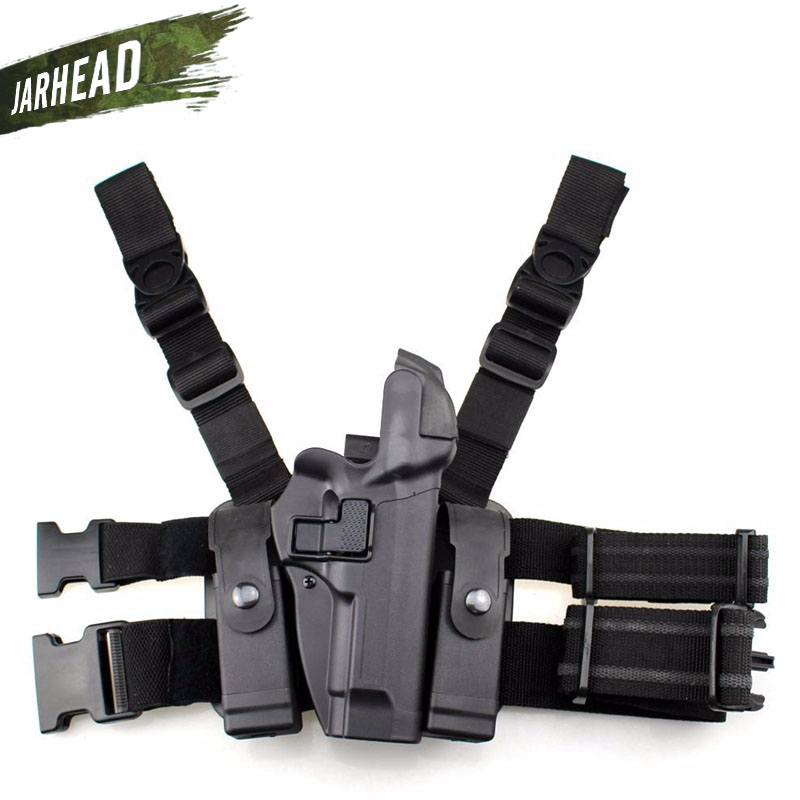 M92 Tactical Right Leg Thigh Hand Holster Level 3 Lock Duty Pistol Gun Holster w/ Magazine Torch Pouch for Beretta M9 M92 silver wings silver wings 21wrs0017 8 126