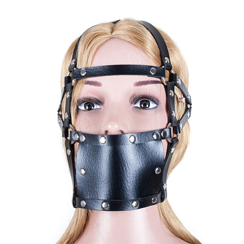 That can leather bondage face head mask