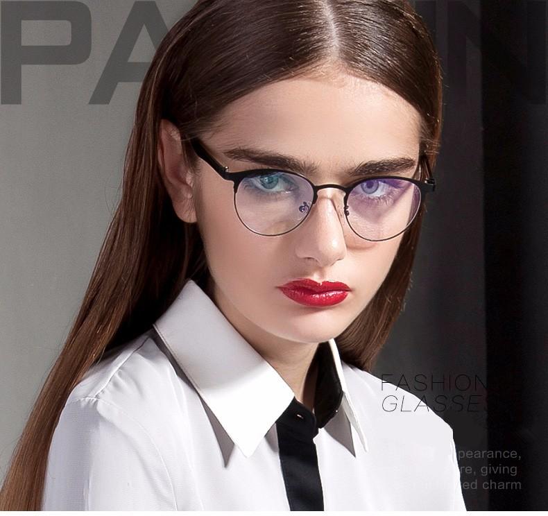 be81ab3e96 Parzin Vintage Round Glasses Frame Women Men Metal Eyeglasses Frame Tr 90  Leg Eyewear With Case Black 5062