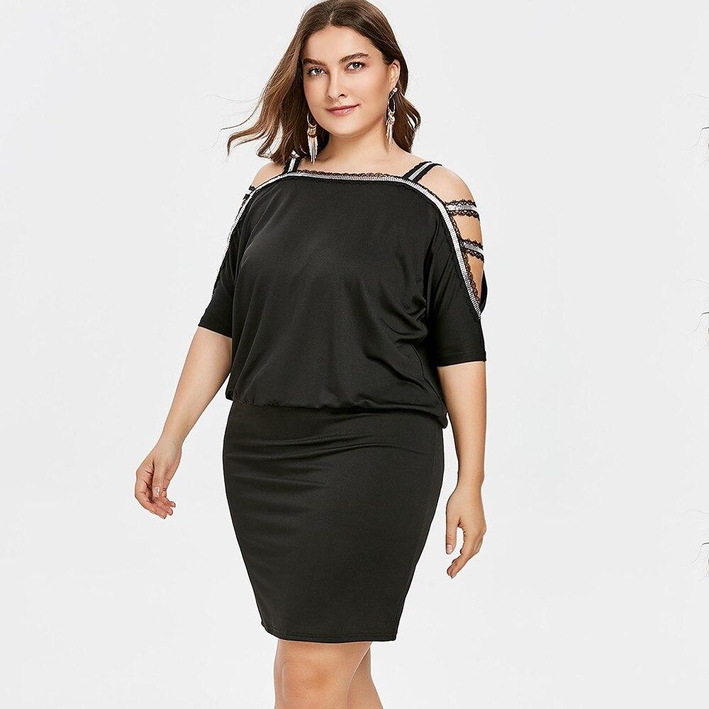 US $15.15 |New Arrival Women Dress BLACK Plus Size Cold Shoulder Blouson  Dress Elegant Summer Half Sleeves Women\'s Summer Dress HOT Selling-in  Dresses ...