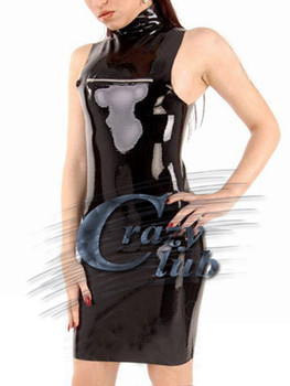 Crazy club_Top show Women Black Latex  with horizontal zipper Halter Backless Dress with zip Dress Fetish Fast Delivery