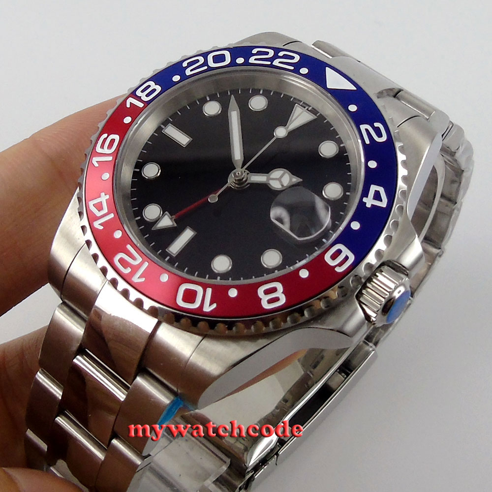 top 40mm parnis black sterile dial sapphire glass relogio masculino GMT red blue Bezel date window automatic mens watch P443