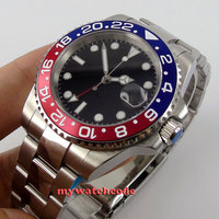 40mm Parnis Black Dial GMT Red Blue Bezel Date Window Automatic Mens Watch P443