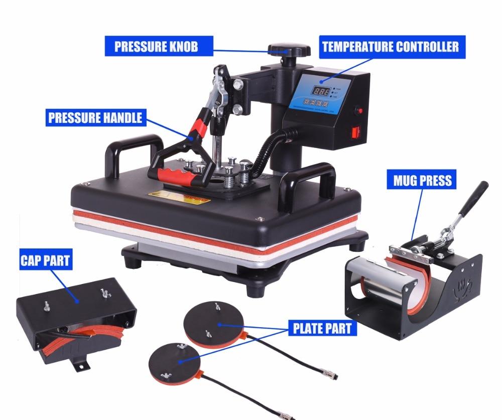 Cheap 30*38CM 5 In 1 Combo Heat Press Printer Sublimation Machine Heat Press Machine For T-shirts Plates/Cap/Mug/Phone Covers