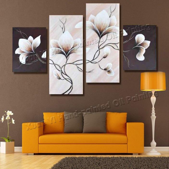 4 шт. холст стены книги по искусству ручная роспись спокойно элегантный цветущие цветы украшения абстрактный пейзаж картина маслом на холст...