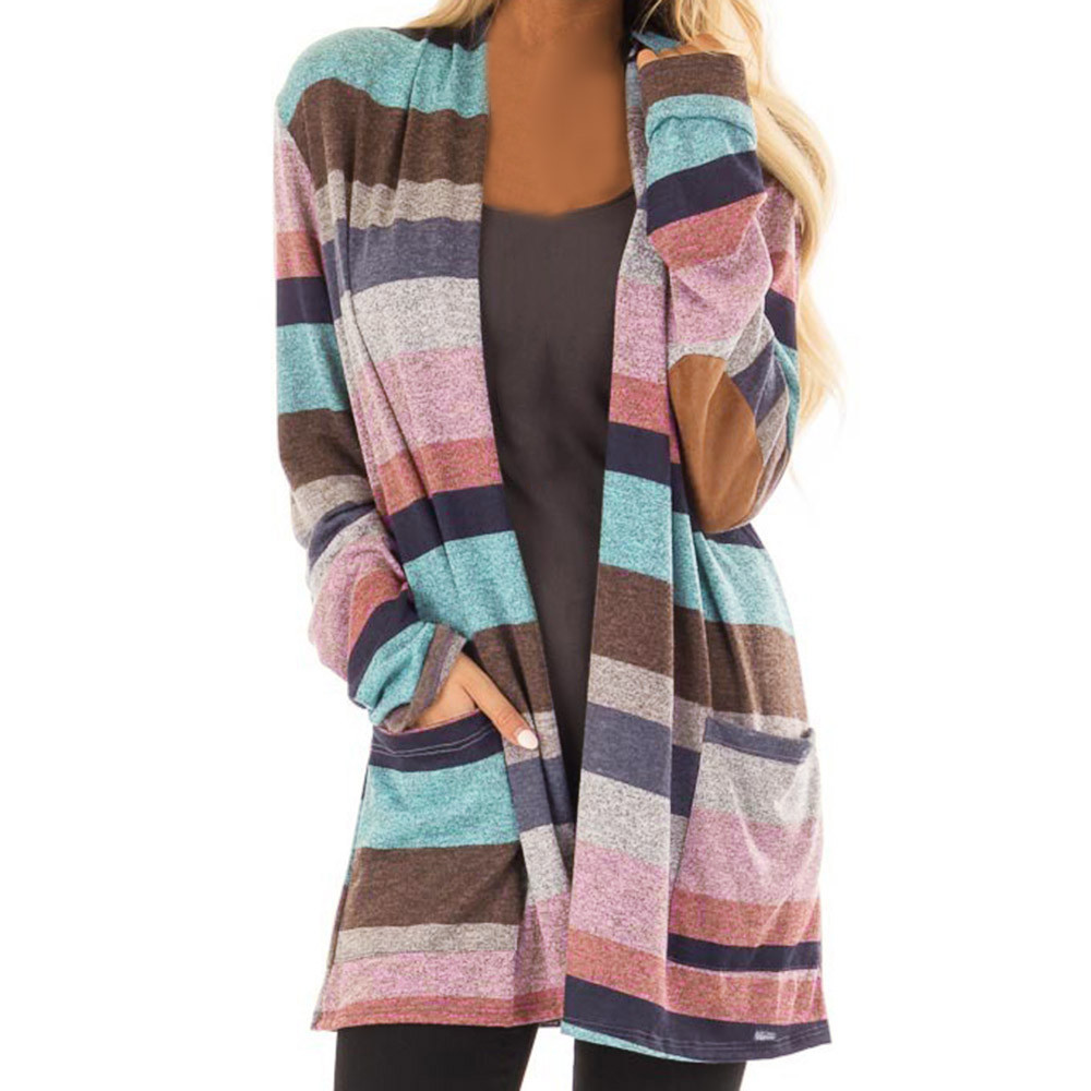 Long Cardigan Female 2020 Autumn Winter Women Long Sleeve Striped Cardigan Sweater Knitted Cardigans For Women Jacket F30