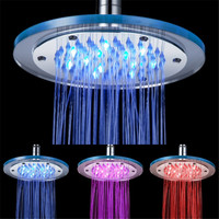 8 Inch LED Shower Head Light Changing 3 Colors Water Saving Bathroom Rain Handheld Spa Heads