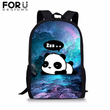 лучшая цена FORUDESIGNS Blue Cloud BookBag Cute Panda Unicorn School Backpack Teenager Girls Boys Student Colorful 16 inch Satchel Daypack