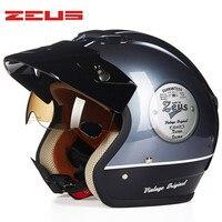 Retro Cruiser Motorcycle Helmet Chopper 3 4 Open Face Vintage Helmet 38146 Moto Casque Casco Motocicleta