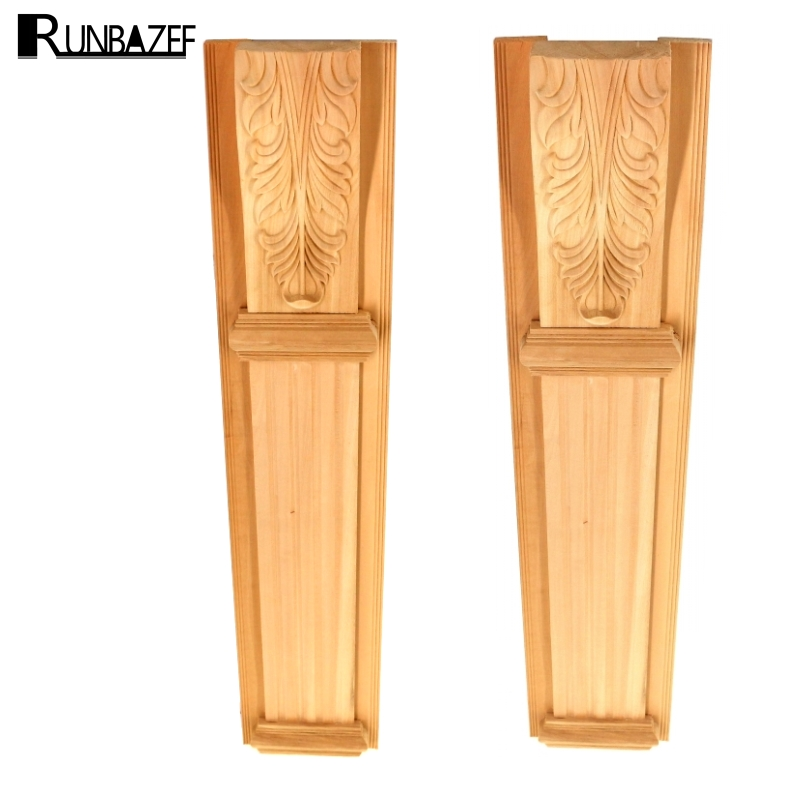 RUNBAZEF The Fireplace Onlay Applique Wooden Wood Carving Decal Furniture Wall Corner Decor for Cabinets Windows Mirrors Craft