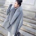 Mujeres de la chaqueta de invierno abrigo de cachemir abrigo Natrue mullidas grandes abrigos de piel femenina otoño manto abrigo capullo primavera casaco feminino