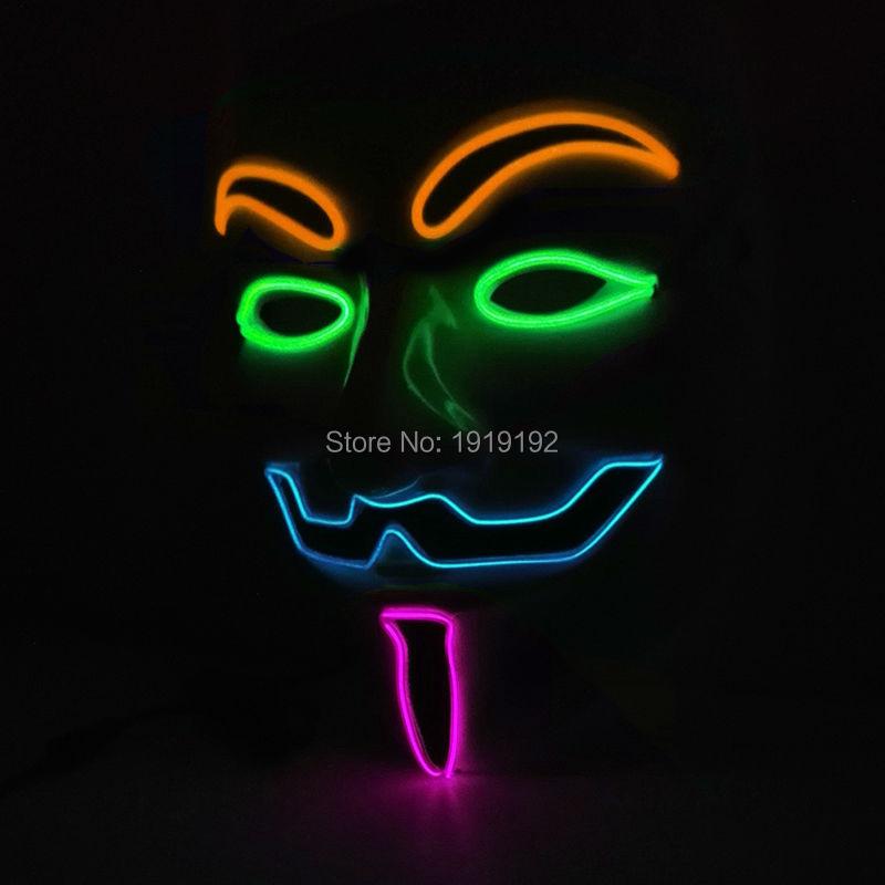 Vroče prodajne zabavne maske EL žica 4-barve Anonymous Guy Fawkes - Prazniki in zabave - Fotografija 1