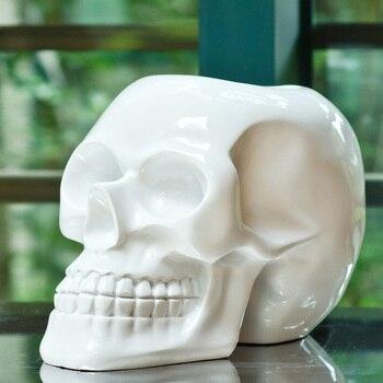 Fashion Skull Head Sculpture Decorative Resin Cranium Statue Skeleton Novelty Art and Craft Ornament Accessories Furnishing