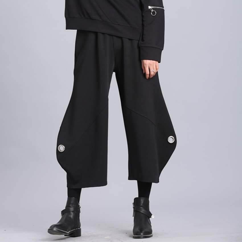 Wide leg pants female summer nine thin section loose drape wheel 2018 new high waist black straight wide leg wide leg