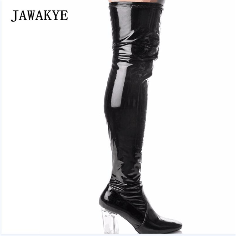 2017 Newest Sexy Patent Leather Thigh Boots Women Pointed Toe Clear Chunky High Heel Long Boots Women Fashion Over The Knee Boot new fashion women shoes pointed toe patent leather lady high heel boots for women sexy over the knee boots nightclub pumps