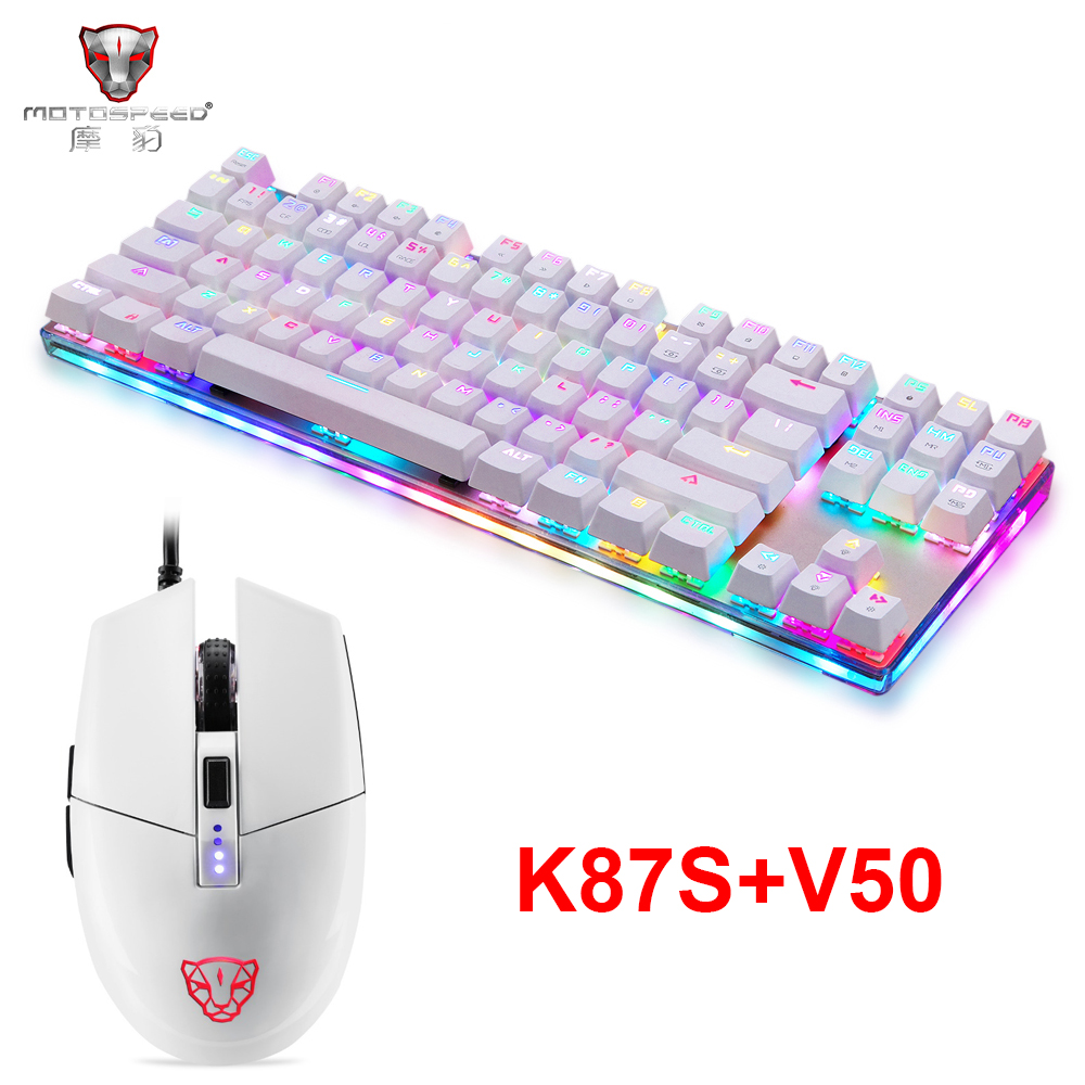 NEW Motospeed K87S USB Wired Mechanical Keyboard Blue Switches Gamer Keyboard With RGB Backlight 87 Keys,V50 4000 DPI RGB Mouse
