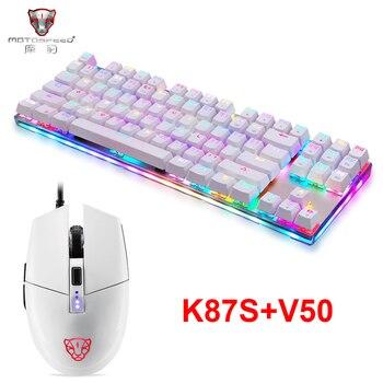 Nowy Motospeed K87S USB przewodowa klawiatura mechaniczna niebieskie przełączniki klawiatura dla graczy z podświetleniem RGB 87 klawiszy, mysz V50 4000 DPI RGB