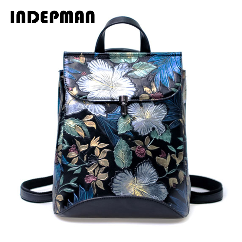 2018 new fashion Exquisite Embossed luxury brand genuine leather backpacks women bags designer backpack floral women backpacks