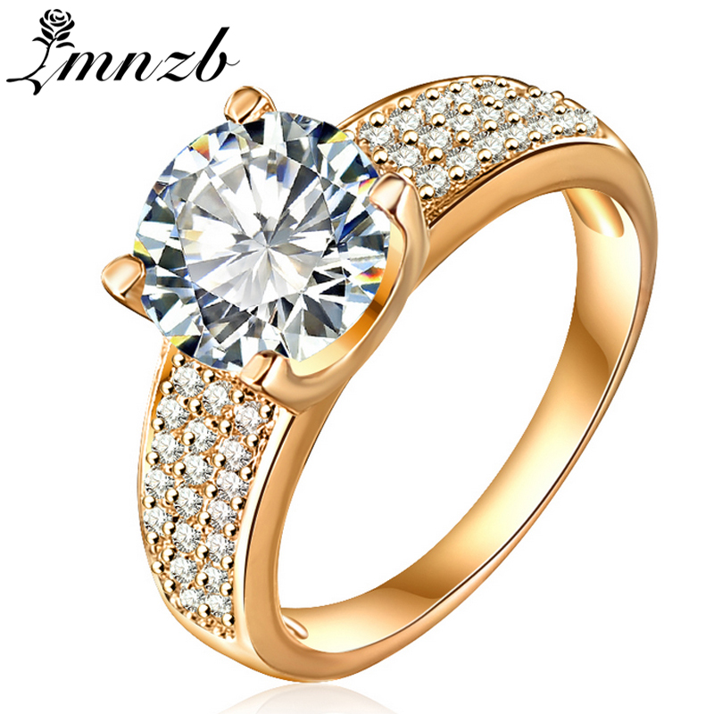 LMNZB Original Yellow Gold Color Ring 8mm 2 Carat Real Cubic Zirconia Wedding Fashion Rings for Women LR0010