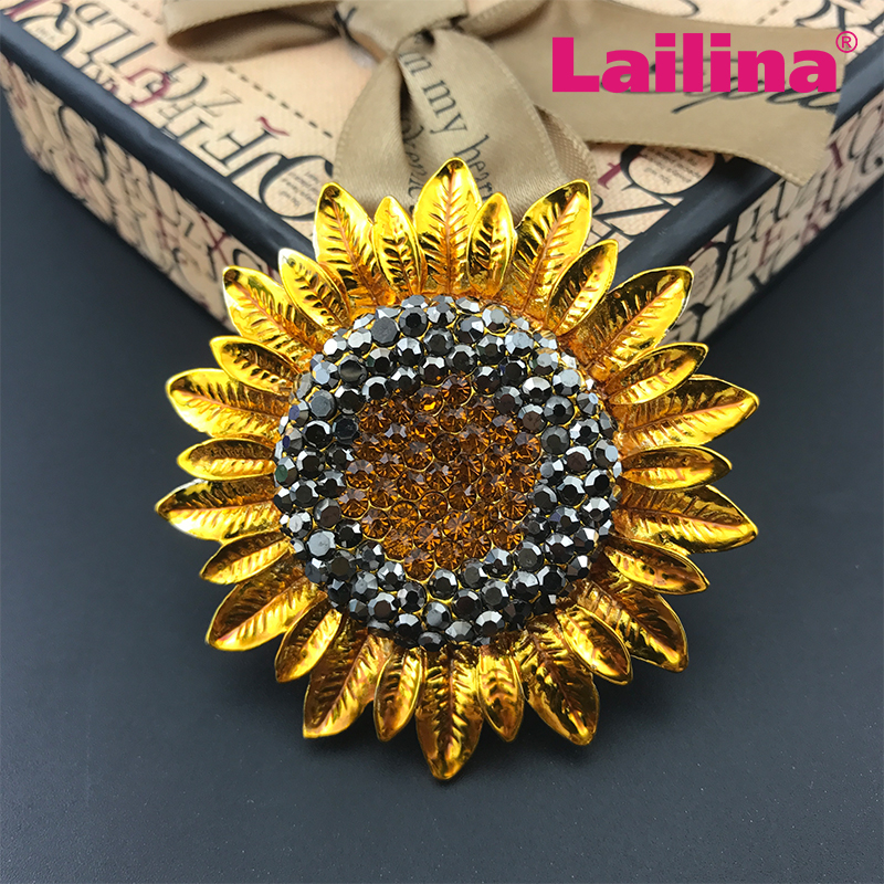 100pcs/lots Gole tone broach rhinestone sunflower brooch pin broches ...