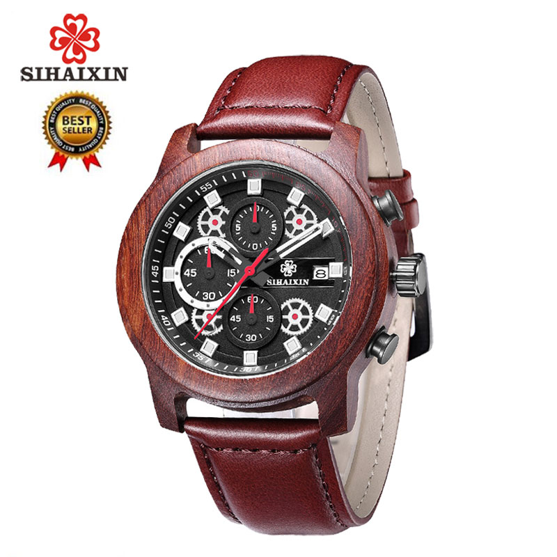 SIHAIXIN Wooden Watch For Men Date Waterproof with Leather Strap Quartz Watches Fashion Chronograph Military Sport