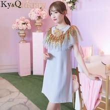 Ky Q 2017 Summer Women Elegant Party lilac Mini Dress Sleeveless Ruffled  Diamonds Female Ladies short Dresses 1e400330e206